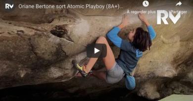 """Vidéo bloc: Oriane Bertone dans """"Atomic Playboy"""" (8a+), par Relais Vertical"""