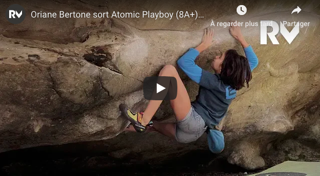 video escalade bloc oriane bertone atomic playboy fontainbleau